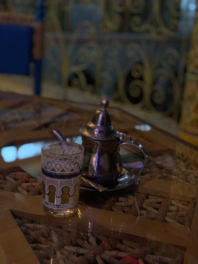 Traditional Moroccan mint tea at Restaurant El Bahia